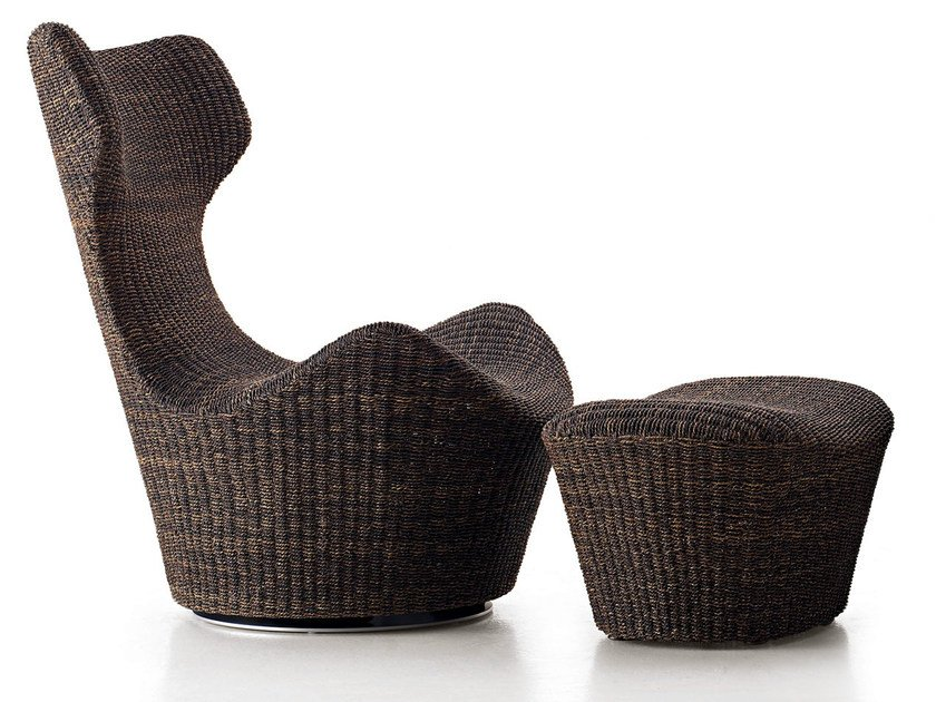 Swivel high-back rope armchair GRANDE PAPILIO | Natural fibre armchair by B&B Italia