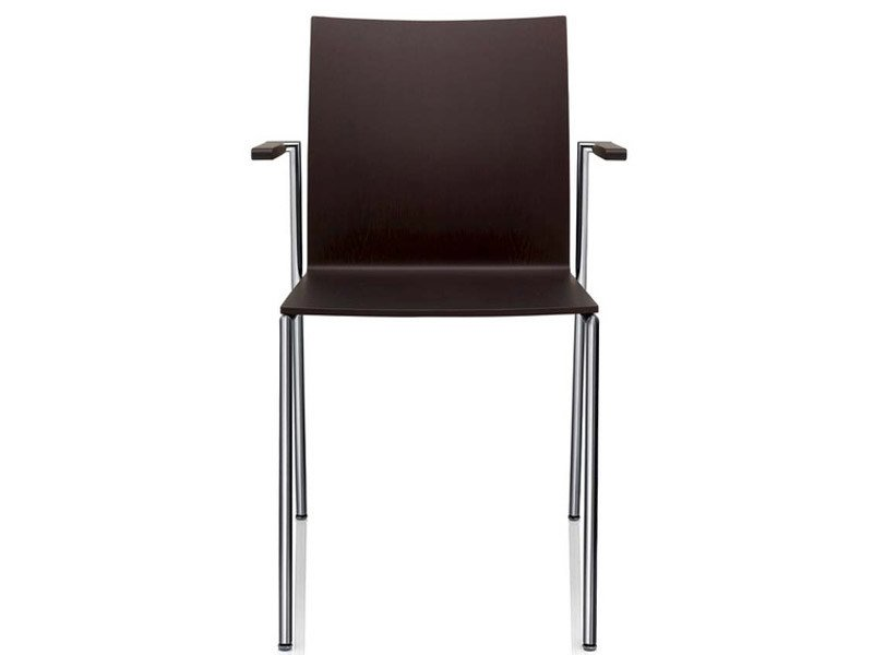 Stackable lacquered chair with armrests MILANOLIGHT | Chair with armrests by Brunner