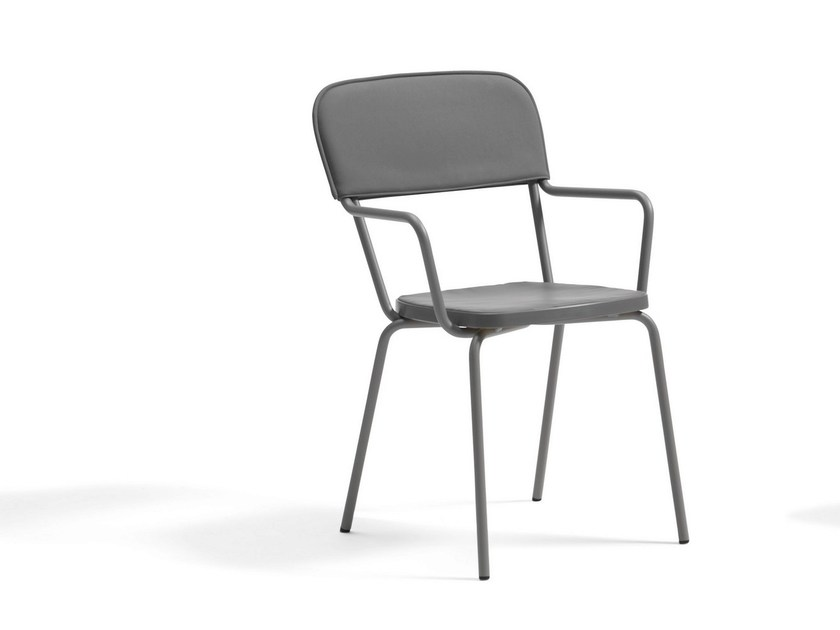 Stackable polyurethane foam garden chair KAFFE | Chair with armrests by Blå Station