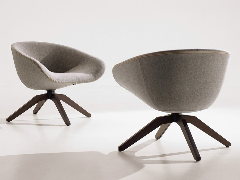 Upholstered trestle-based fabric armchair MART 2012 by B&B Italia