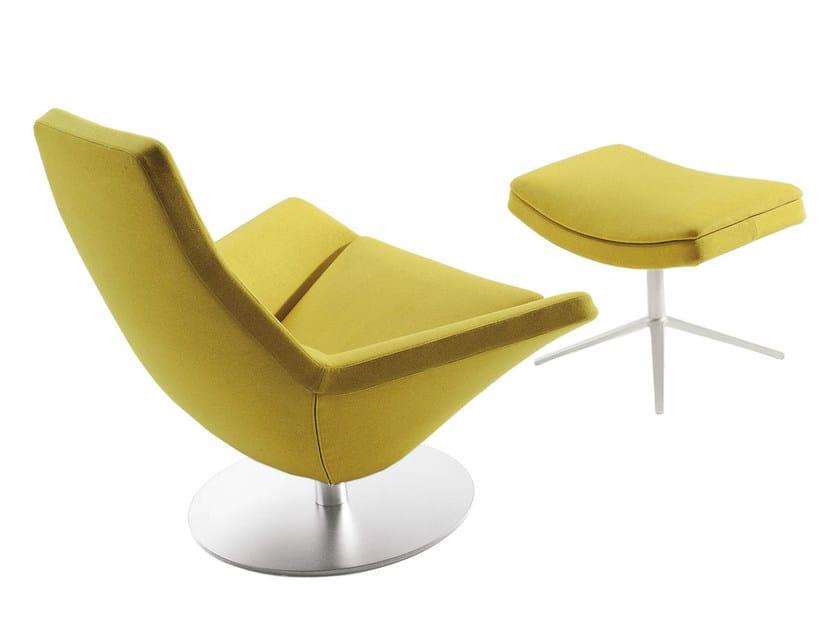 Upholstered fabric armchair with footstool METROPOLITAN | Fabric armchair by B&B Italia