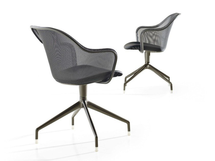 Trestle-based wire mesh chair with armrests IUTA   Chair by B&B Italia