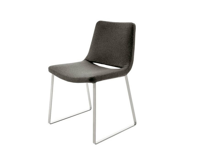 Sled base upholstered fabric chair METROPOLITAN | Sled base chair by B&B Italia