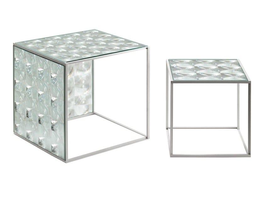 Square glass coffee table LENS | Coffee table by B&B Italia