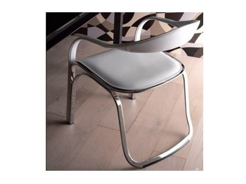 Upholstered leather chair with armrests FETTUCCINI by Italy Dream Design