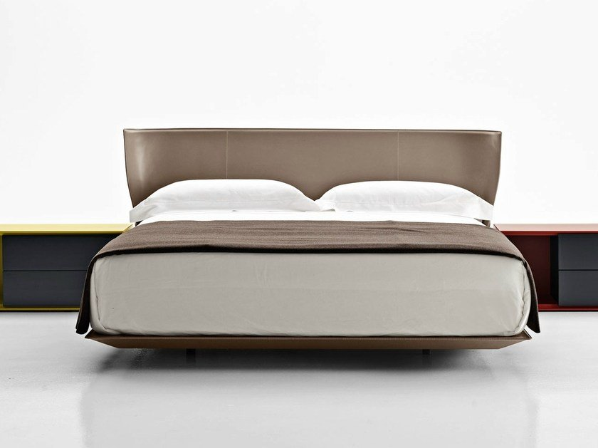 Tanned Leather Double Bed With Upholstered Headboard Alys