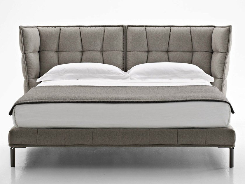 Fabric double bed with upholstered headboard HUSK | Bed by B&B Italia