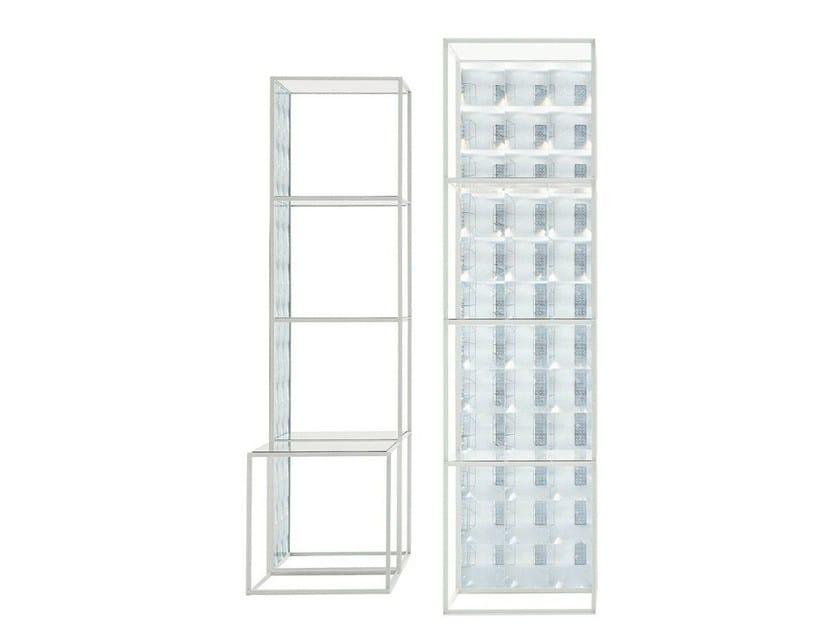Glass bathroom cabinet / bookcase LENS | Bookcase by B&B Italia
