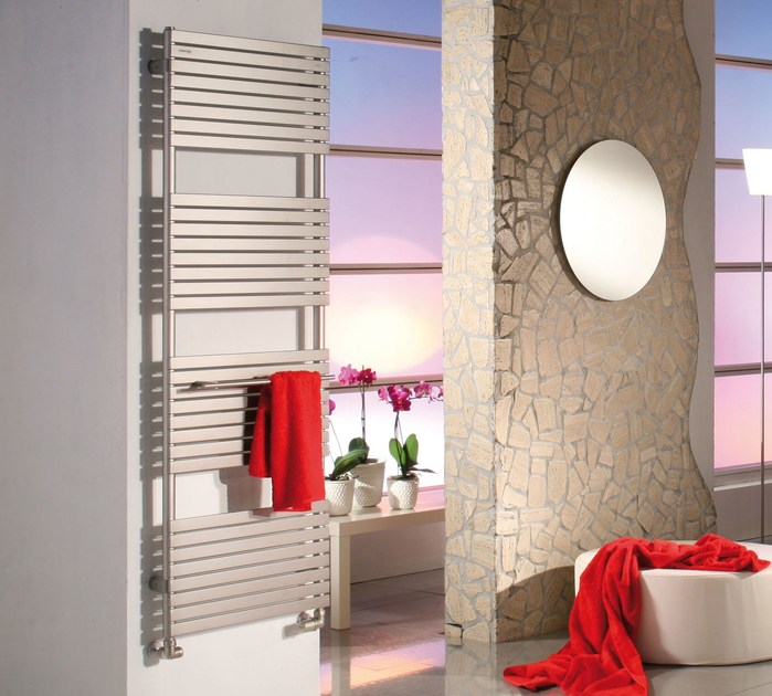 Electric wall-mounted decorative radiator STEFANIA | Brushed-finish towel warmer by CORDIVARI