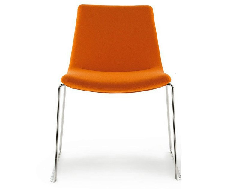 Sled base upholstered stackable fabric chair COSMOS | Stackable chair by B&B Italia Project