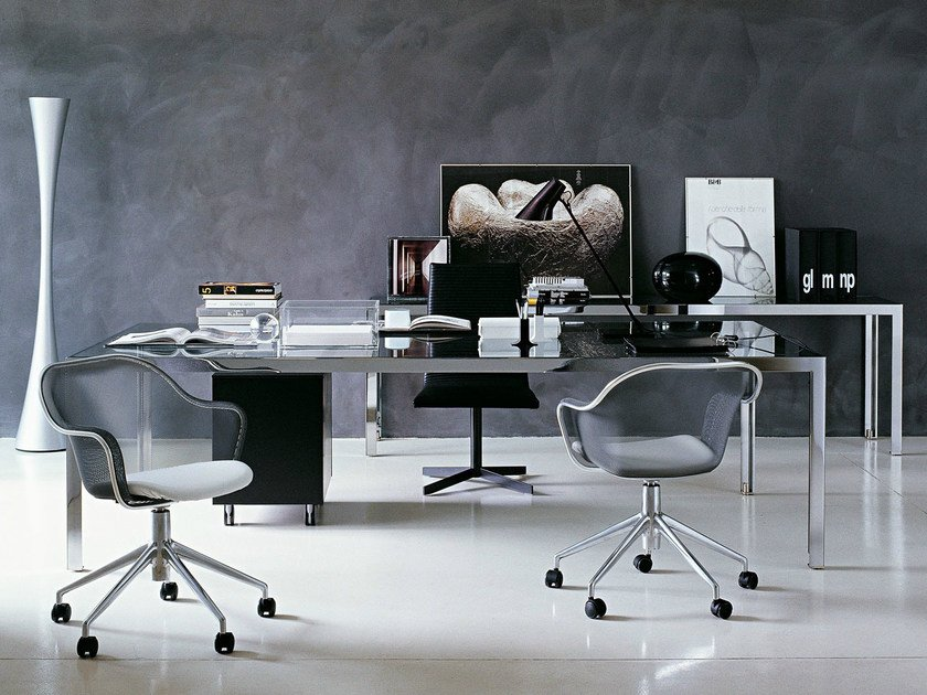 Rectangular Glass Executive Desk Progetto 1 By B Italia Project