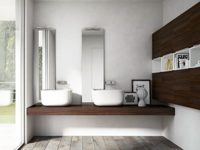 Double vanity unit with mirror MY TIME 04 by Idea