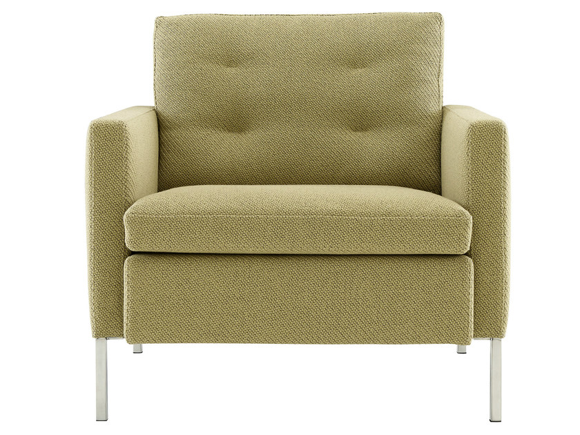 Upholstered fabric armchair with armrests HUDSON | Armchair by Ligne Roset