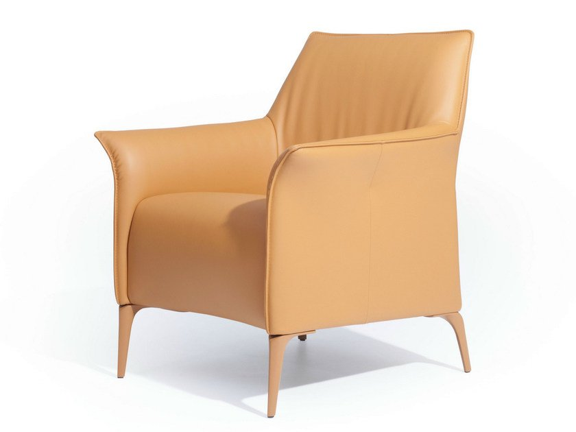 Upholstered leather armchair with armrests MAYURO   Leather armchair by LEOLUX