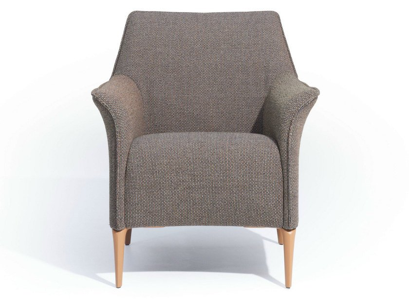 Upholstered fabric armchair with armrests MAYURO | Fabric armchair by LEOLUX