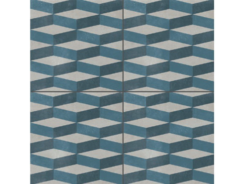 Glazed stoneware wall/floor tiles AZULEJ GRIGIO CUBE by MUTINA