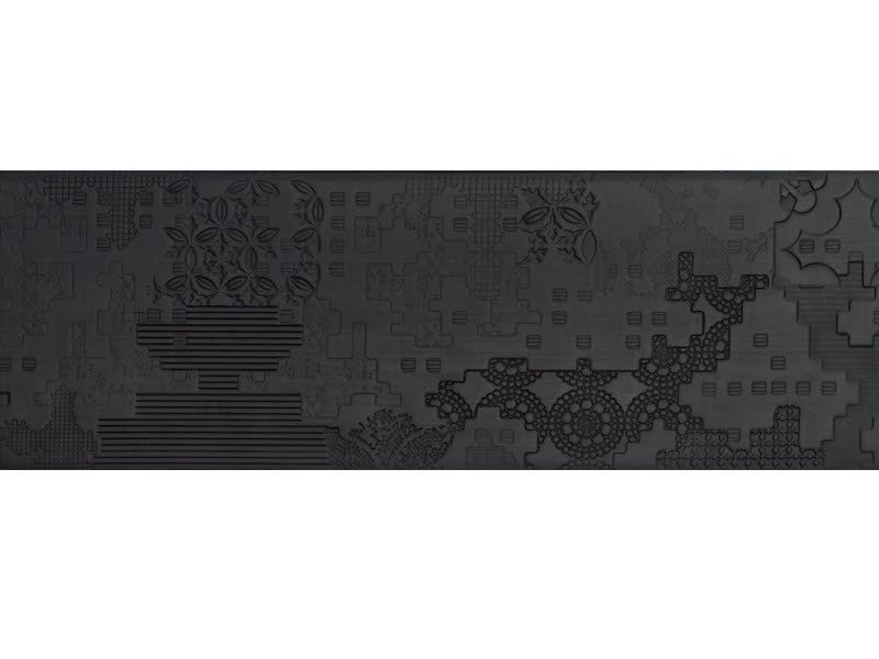 Indoor porcelain stoneware wall/floor tiles BAS-RELIEF PATCHWORK NERO by MUTINA