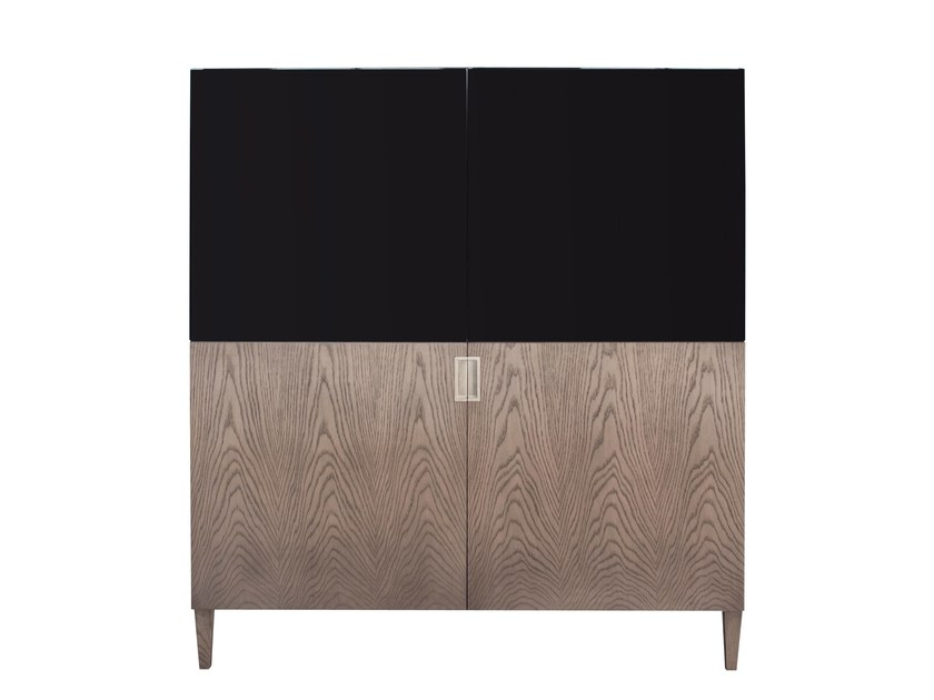 Wood veneer highboard with doors CHAMBOR by AZEA