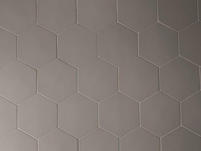 Porcelain stoneware wall tiles PHENOMENON HEXAGON FANGO by MUTINA