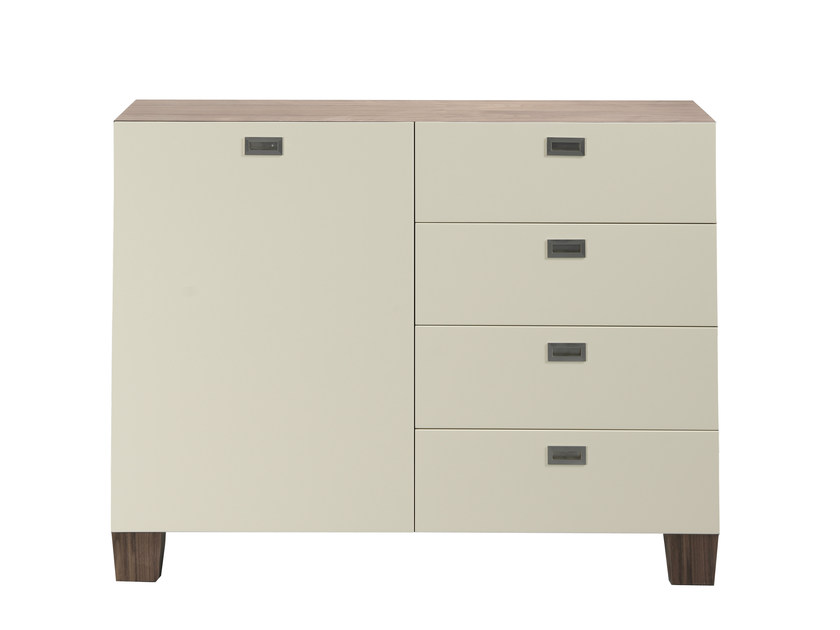 Wood veneer storage unit with drawers MEDICIS DOUBLE by AZEA