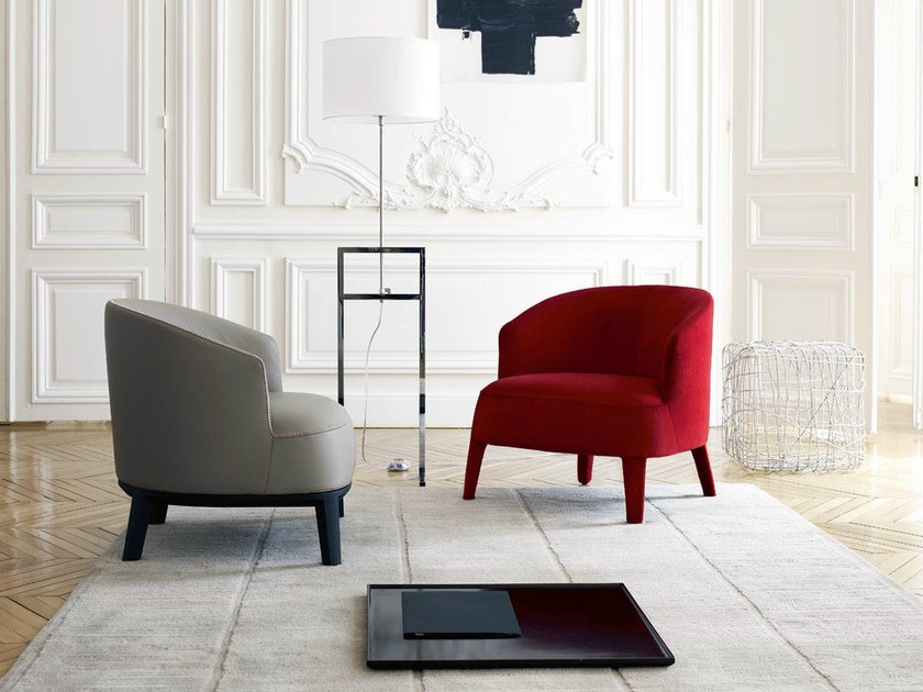 Upholstered fabric armchair with armrests FEBO | Armchair with armrests by Maxalto