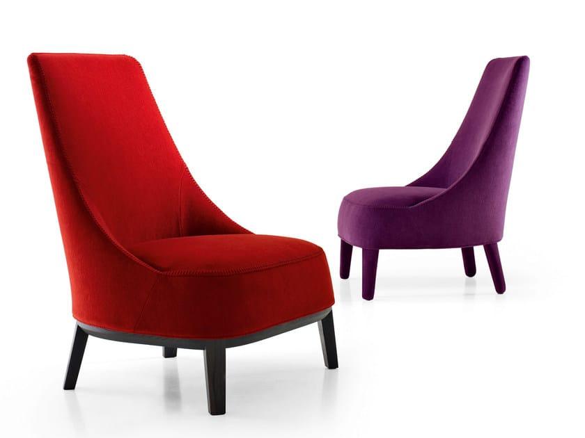 High-back upholstered fabric armchair FEBO | High-back armchair by Maxalto