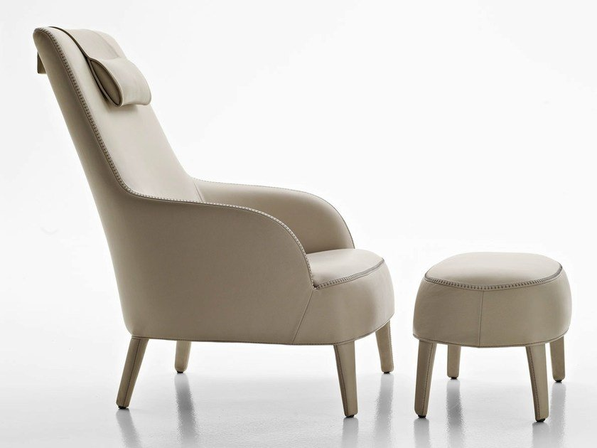 Bergere upholstered leather armchair with headrest FEBO BERGERE | Leather armchair by Maxalto