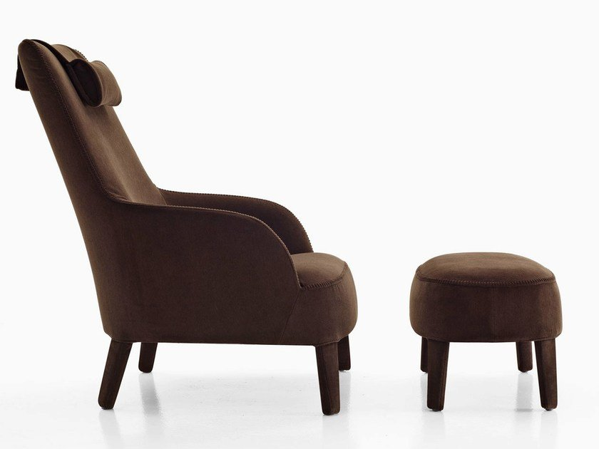Bergere upholstered fabric armchair with headrest FEBO BERGERE | Fabric armchair by Maxalto