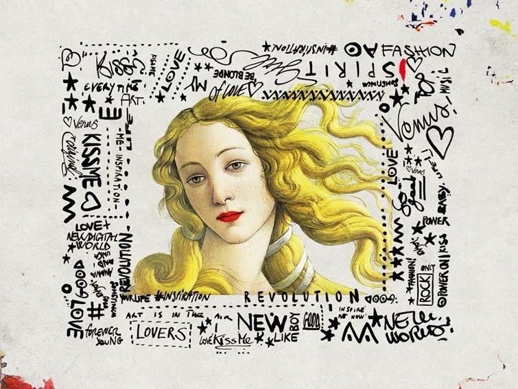 Pop art writing wallpaper PRINTEMPS by Wall&decò