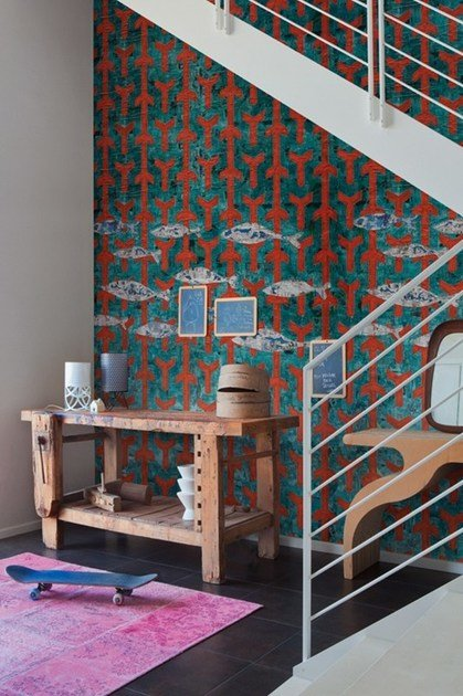 Motif nonwoven wallpaper FISH WISH by Wall&decò