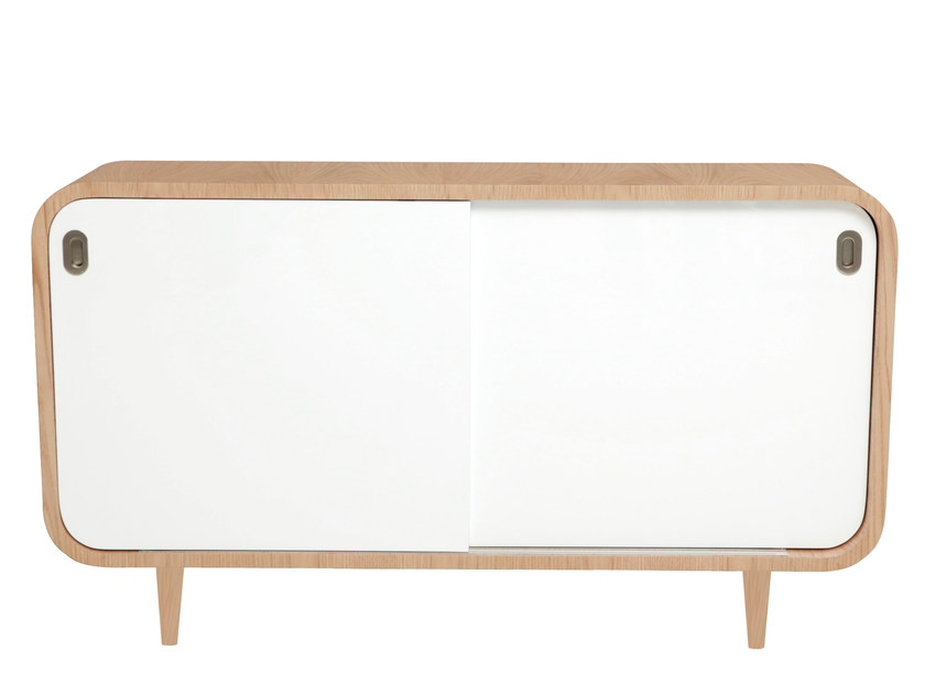 Wood veneer sideboard with sliding doors MALLY | Sideboard by AZEA