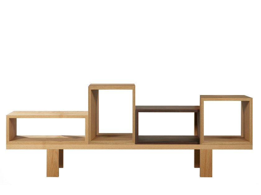 Open double-sided sectional wood veneer bookcase DURAS D1 | Double-sided bookcase by AZEA