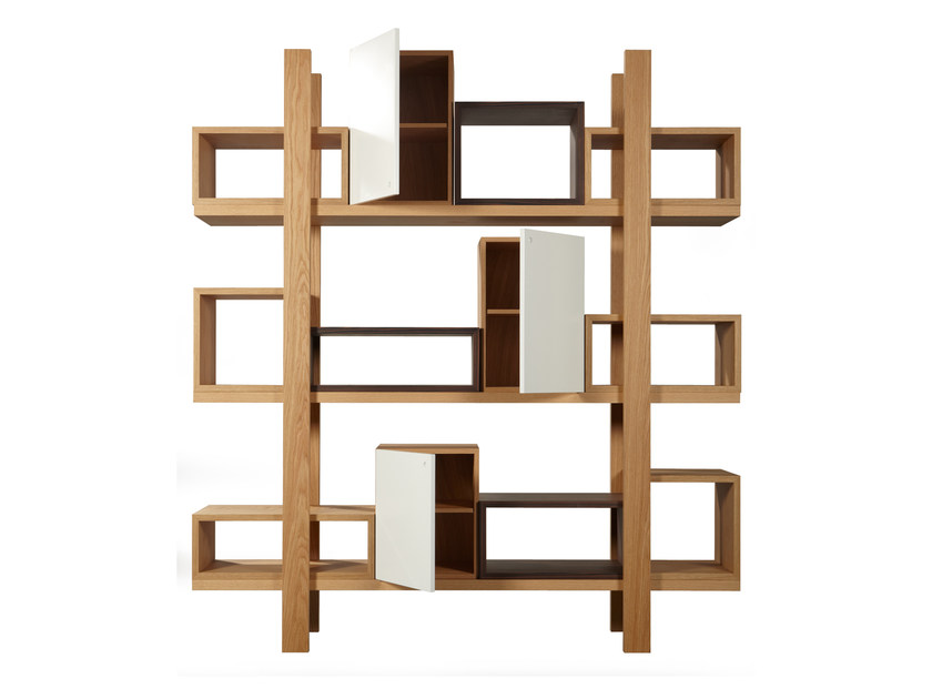 Open sectional wood veneer bookcase DURAS | Open bookcase by AZEA