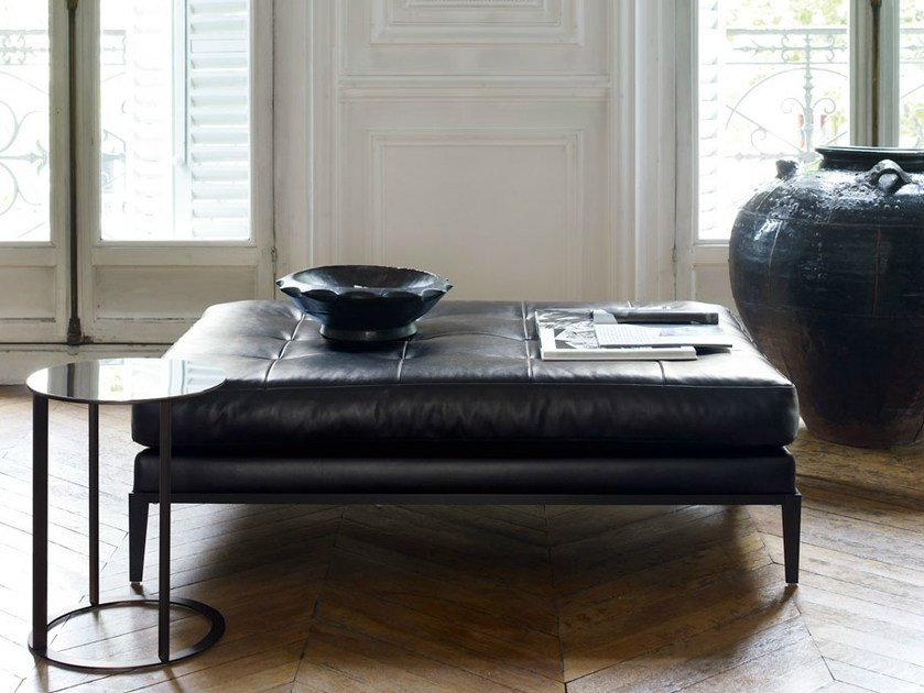 Upholstered leather pouf SIMPLICITER | Pouf by Maxalto