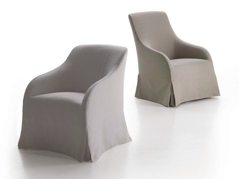 Upholstered fabric armchair with armrests AGATHOS by Maxalto