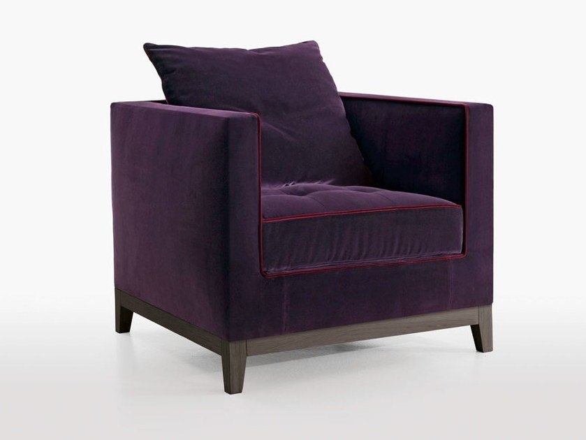 Upholstered fabric armchair with armrests LUTETIA | Armchair by Maxalto