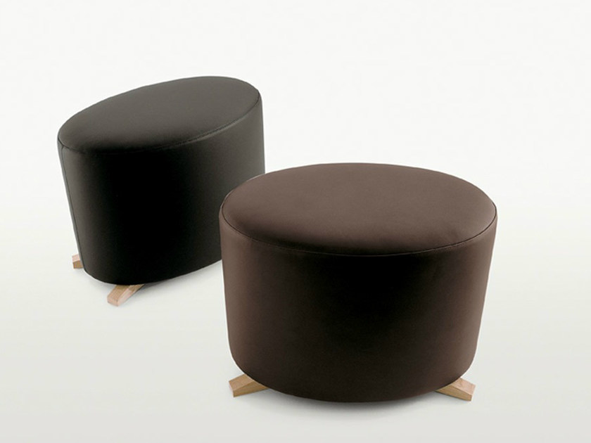 Upholstered leather pouf CALLIOPE | Pouf by Maxalto