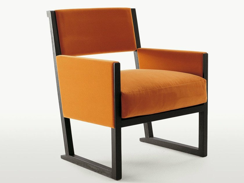 Upholstered fabric armchair with armrests MUSA | Fabric armchair by Maxalto