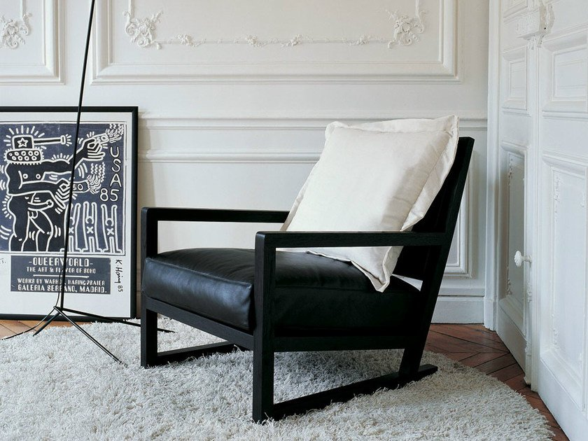 Upholstered leather armchair with armrests CLIO   Leather armchair by Maxalto