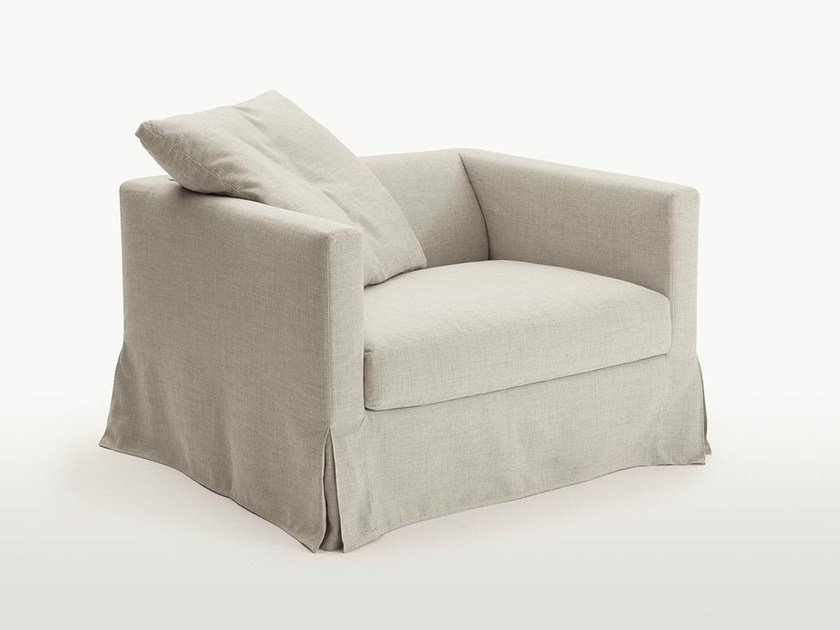 Upholstered fabric armchair with armrests SIMPLICITER   Fabric armchair by Maxalto