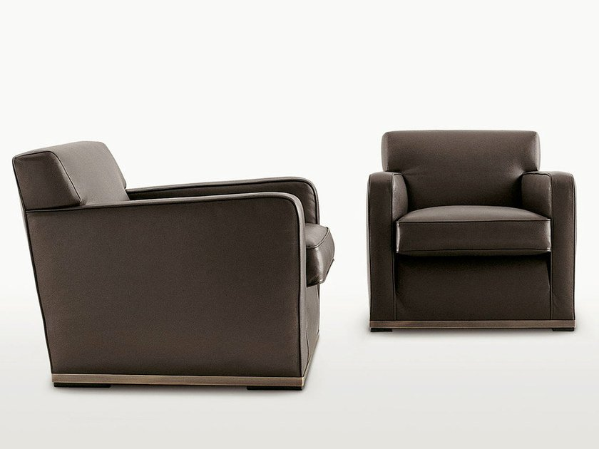 Upholstered leather armchair with armrests IMPRIMATUR | Leather armchair by Maxalto