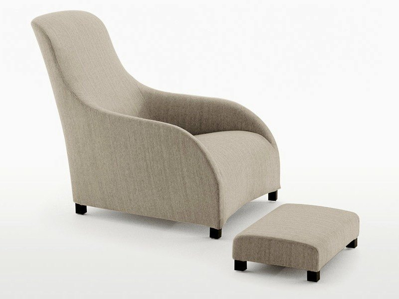 Bergere high-back fabric armchair with footstool KALOS by Maxalto