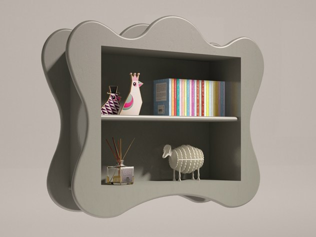 Lacquered floating kids bookcase VOLUTE | Floating kids bookcase by Mathy by Bols
