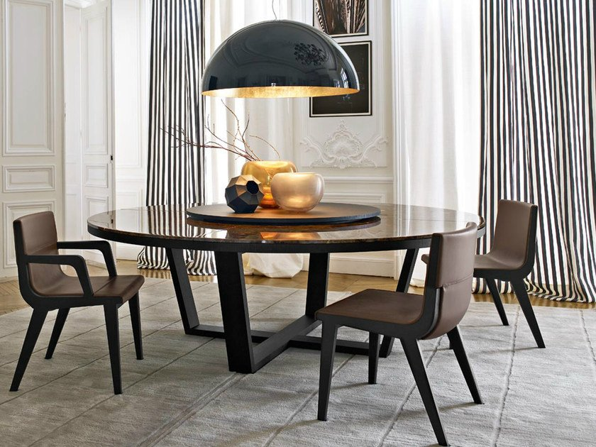 Round marble table with Lazy Susan XILOS | Marble table by Maxalto