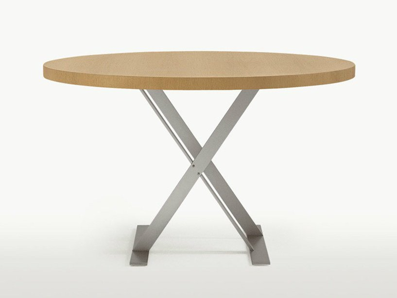 Round steel and wood table MAX | Round table by Maxalto