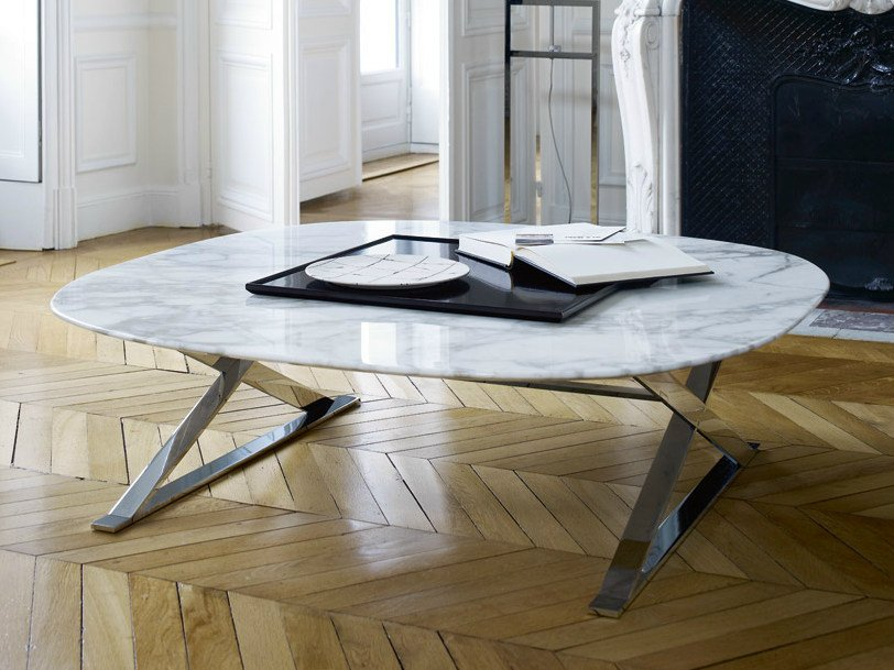 Low square marble coffee table PATHOS | Marble coffee table by Maxalto