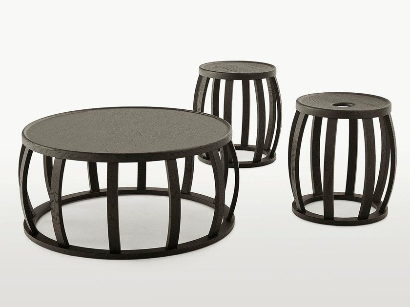 Round solid wood coffee table LOTO by Maxalto