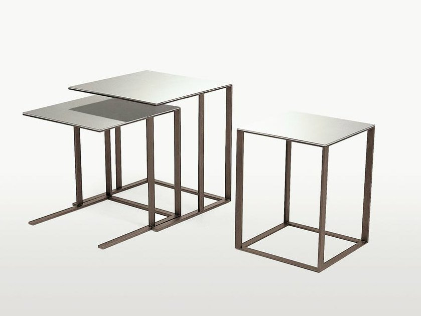Modular square mirrored glass coffee table ELIOS | Square coffee table by Maxalto