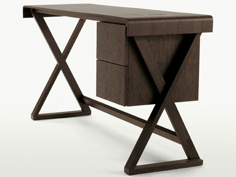 Solid wood writing desk with drawers SIDUS   Writing desk by Maxalto