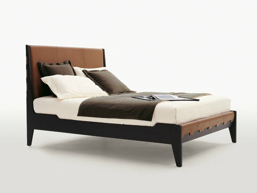 Leather double bed with upholstered headboard TALAMO by Maxalto